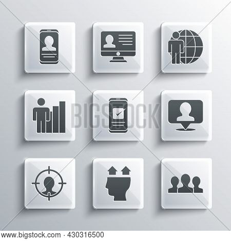 Set User Of Man, Users Group, Location With Person, Smartphone, Head Hunting, Productive Human, Mobi