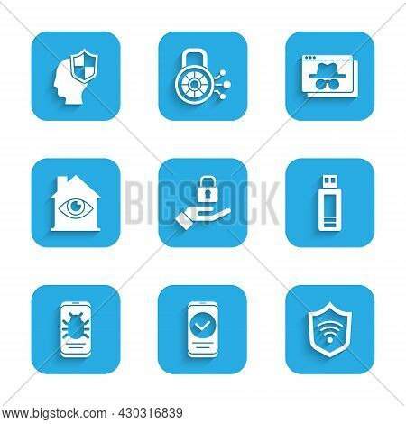 Set Lock In Hand, Smartphone, Shield With Wifi Wireless, Usb Flash Drive, System Bug Mobile, House E
