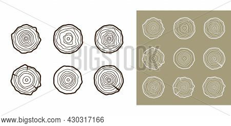 Tree Rings Background. Abstract Age Annual Circle Tree Vector