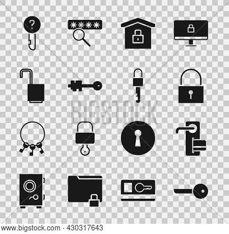 Set Key, Digital Door Lock, Lock, House Under Protection, Old Key, Open Padlock, Undefined And Locke