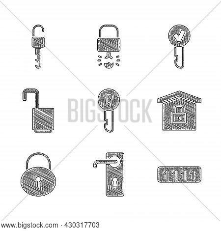 Set Undefined Key, Door Handle, Password Protection, House Under, Lock, Open Padlock, Key And Unlock