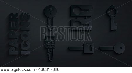 Set Key, Old Key, Car With Remote, Casting Keys And Undefined Icon. Vector