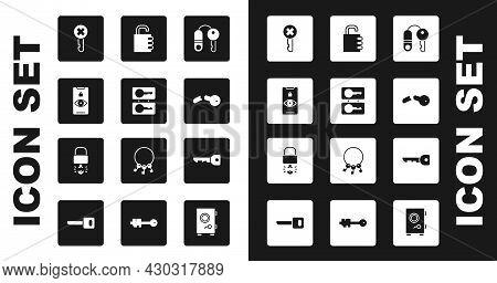 Set House With Key, Casting Keys, Eye Scan, Wrong, Broken, Safe Combination Lock, Key And Broke Insi