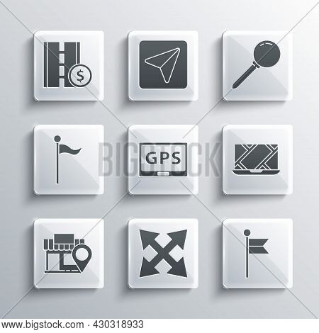 Set Road Traffic Sign, Location Marker, City Map Navigation, Gps Device With, Store, Toll Road And P