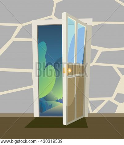 Opened Door. From Inside Of Room At Home. Green Landscape Night View With Trees. Stone Wall. Way Is