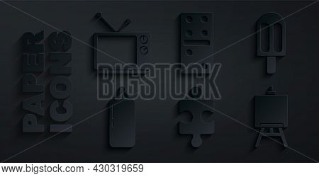 Set Piece Of Puzzle, Ice Cream, Punching Bag, Easel Or Painting Art Boards, Domino And Retro Tv Icon