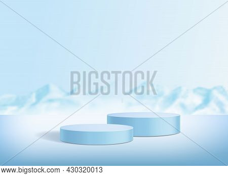 Circle Podium On Blue Background With Snowy Mountains Or Iceberg. Minimal Abstract Studio Stage For