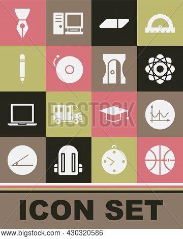 Set Basketball Ball, Graph, Schedule, Chart, Diagram, Atom, Eraser Or Rubber, Ringing Alarm Bell, Pe