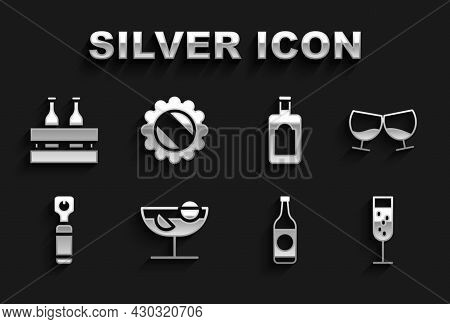 Set Cocktail, Glass Of Cognac Or Brandy, Champagne, Beer Bottle, Bottle Opener, Whiskey, Pack Beer B