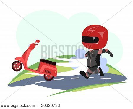 Scooter Driver. Biker Cartoon. Child Illustration. Chase. In A Sports Uniform And A Red Helmet. Cool