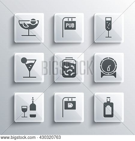 Set Street Signboard With Bar, Whiskey Bottle, Wooden Barrel On Rack, Pickled Cucumbers In Jar, Wine