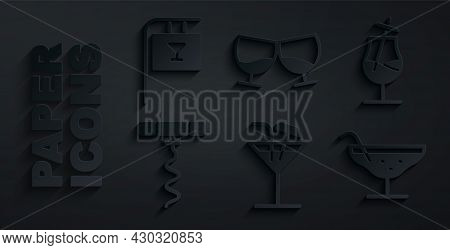 Set Cocktail, Wine Corkscrew, Glass Of Cognac Brandy And Street Signboard With Bar Icon. Vector