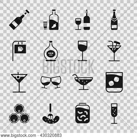 Set Glass Of Champagne, Whiskey, Cocktail, Wine Bottle With Glass, Bottle Cognac Or Brandy, Street S