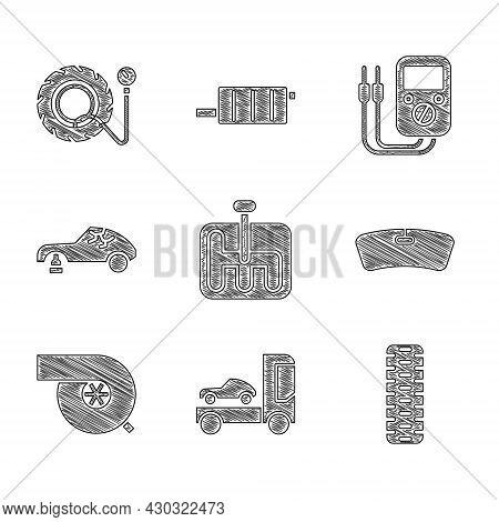 Set Gear Shifter, Car Transporter Truck, Tire Wheel, Windshield, Automotive Turbocharger, Broken Car
