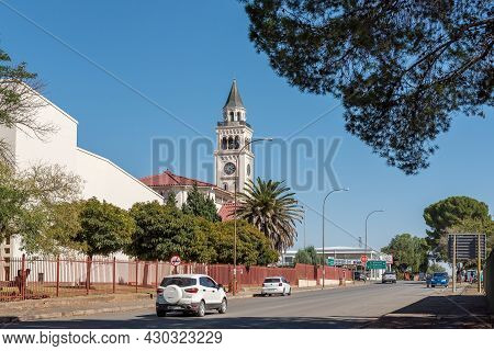 Aliwal North, South Africa - April 23, 2021: A Street Scene, With The Dutch Reformed Church, In Aliw