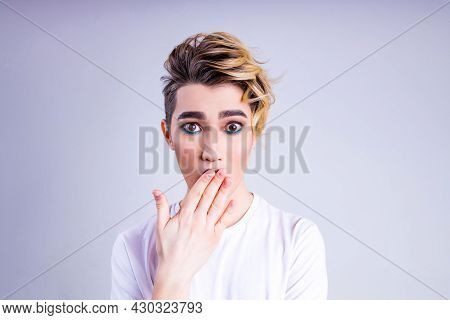 Oops, What Did I Do Asian Man With Luxurious Blonde Hair And Gorgeous Make-up In White Wall Studio B