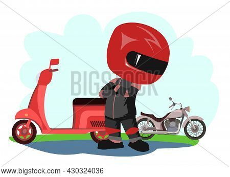 Scooter Driver. Biker Cartoon. Child Illustration. Compares Bikes. In A Sports Uniform And A Red Hel