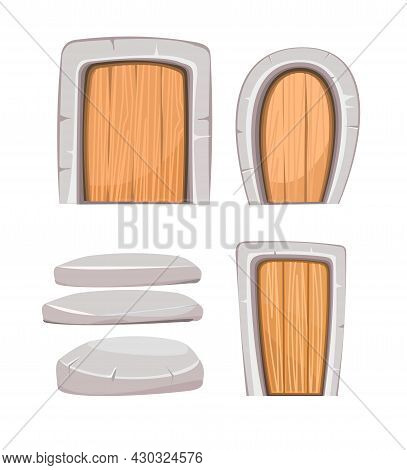Door Is Closed And Stones. Doorway Of House Or Apartment. Set. Stone Finishing. Entrance Is Outside.