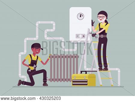 Plumbers Doing Inspection Of Plumbing Work, Pipe And Radiator Installing. Professional Service Techn