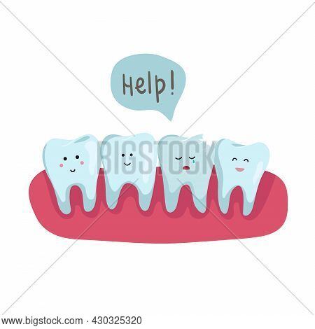 Row Of Health Teeth In The Oral Cavity, One Of Which Is Sick. One Bad Tooth Is Cracked, Piece Of Too