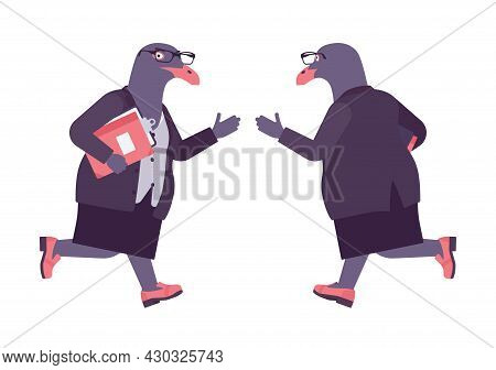 Bird Woman, Seagull Head Female Pigeon In Human Wear Running. Plump Rounded Person With Short Legs,