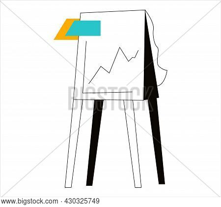 Flipchart. On A White Background With A Graph. Business Illustration, Analytics, Final Chart. Flat I