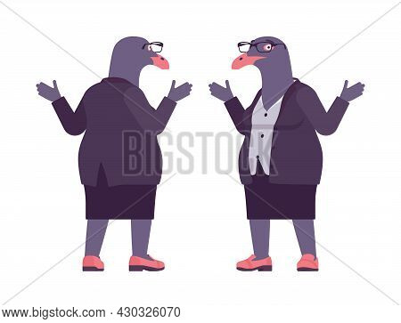 Bird Woman, Seagull Head Female Pigeon In Human Wear, Shrugging. Plump Rounded Person With Short Leg