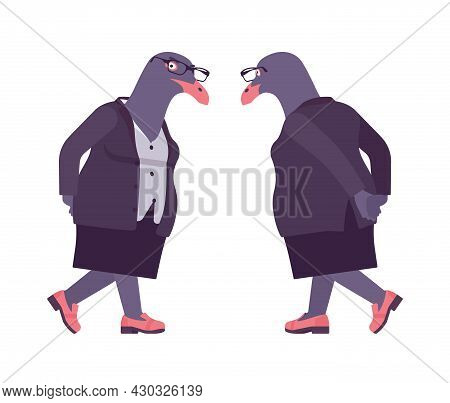 Bird Woman, Seagull Head Female Pigeon In Human Wear Pensive. Plump Rounded Person With Short Legs,