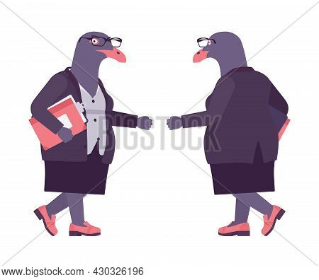 Bird Woman, Seagull Head Female Pigeon In Human Wear Walking. Plump Rounded Person With Short Legs,