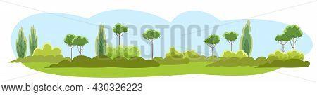Rural Summer Beautiful Landscape. Plain. Tees And Shrubs On The Horizon. Sky. Cartoon Style. Romanti
