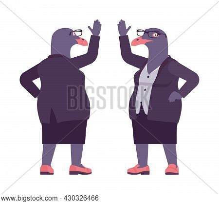 Bird Woman, Seagull Head Female Pigeon In Human Wear Waving. Plump Rounded Person With Short Legs, C