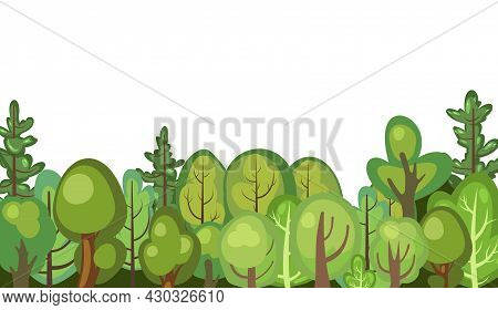 Flat Forest. Illustration In A Simple Symbolic Style. Funny Green Rural Landscape. Comic Design. Wil