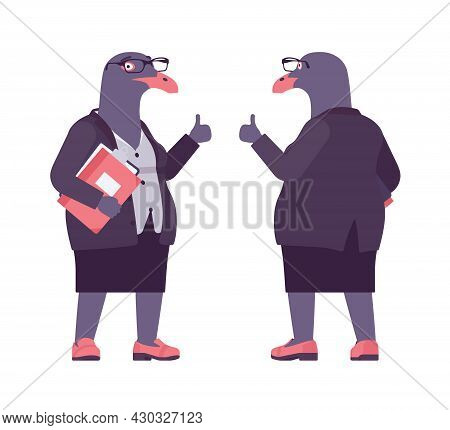 Bird Woman, Seagull Head Female Pigeon, Human Wear, Thumb Up. Plump Rounded Person With Short Legs,