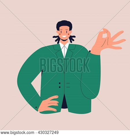 A Happy Man With Dreadlocks In A Business Suit Shows The Ok Sign. The Ok Gesture. Colorful Flat Vect