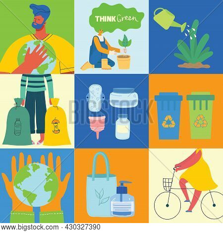 Eco Illustration For Web. People Sorting Waste And Use Eco Bag And Reusable Cup. Eco-friendly Charac