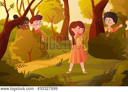 Children Playing In Forest. Friends Playing Hide And Seek. Boys Hiding In Bushes. Teenagers Have Fun