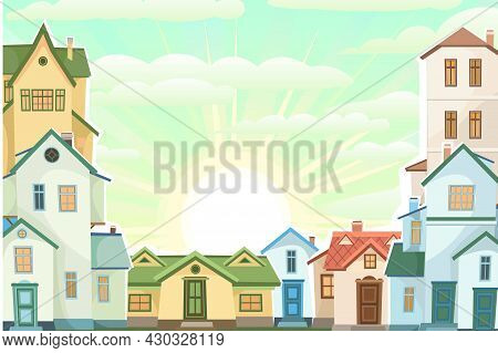 Cartoon Houses In The Morning. Village Or Town. Frame. A Beautiful, Cozy Country House In A Traditio
