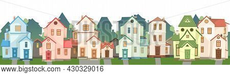 Street. Cartoon Houses. Village Or Town. Seamless. A Beautiful, Cozy Country House In A Traditional
