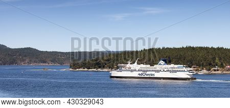 Victoria, Vancouver Island, British Columbia, Canada - August 11, 2021: Bc Ferries Boat Leaving The