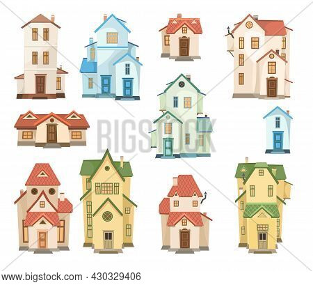 Cartoon House. Set. A Beautiful, Cozy Country House In A Traditional European Style. Collection Of C