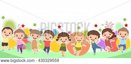 Children Dance Joy. Happy Childhood. Little Boys And Girls. Kid Is Jumping For Joy At The Party. Sum