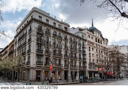 Madrid, Spain - March 7, 2021: Scenic View Of Serrano Street, A Well Known Shopping Street In Salama