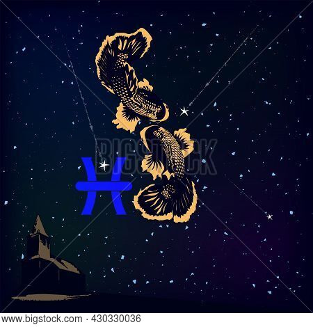The Picture Shows The Zodiac Sign Pisces Against The Background Of Endless Space.