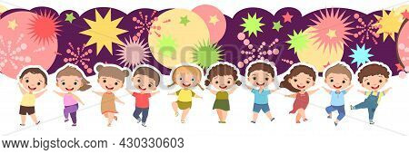 Children Dance Joy. Happy Childhood. Little Boys And Girls. Kid Is Jumping For Joy At The Party. Cut