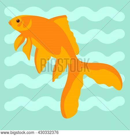 Goldfish , Vector Illustration, Flat Style, Side View