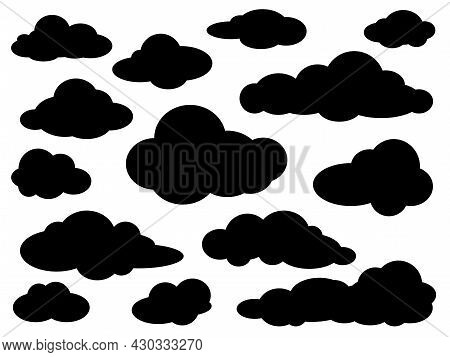 Set Of Various Black Clouds Silhouettes On White Background. Simple Symbols Collection. Vector Illus