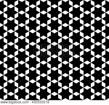 Hexagon Shape Pattern Seamless Zigzag. Arranged In A Grid Line. Abstract Background Hexagram, Black