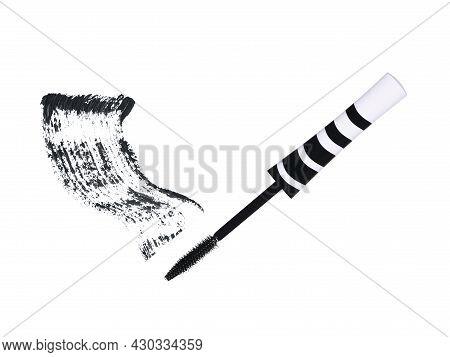 Black White Striped Mascara Brush With Black Strokes Isolated On White Background