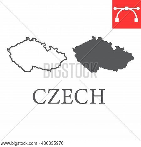 Map Of Czech Republic Line And Glyph Icon, Country And Travel, Czech Map Vector Icon, Vector Graphic