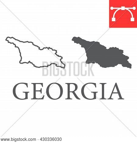 Map Of Georgia Line And Glyph Icon, Country And Travel, Georgia Country Map Vector Icon, Vector Grap